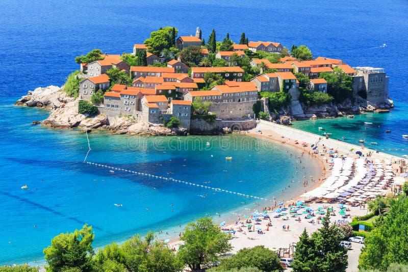 Budva, Montenegro. Panoramic view of Sveti Stefan(St Stephan) Budva, Montenegro royalty free stock photo