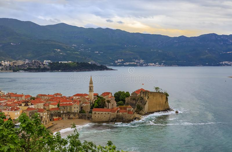 Budva Old Town with the Citadel and the Adriatic Sea in Montenegro stock photo