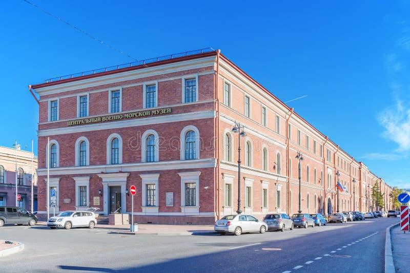 Budynek Środkowy Morski muzeum w St Petersburg w poprzednim budynku Kryukov &-x28; Marine&-x29; Koszaruje obrazy stock