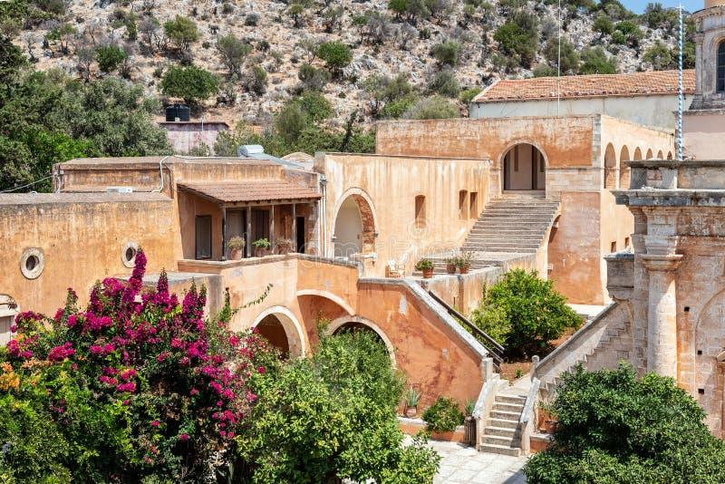 Budynek Aghia Triada monaster, lokalizować blisko Chania miasteczka, Crete wyspa, Grecja zdjęcie royalty free