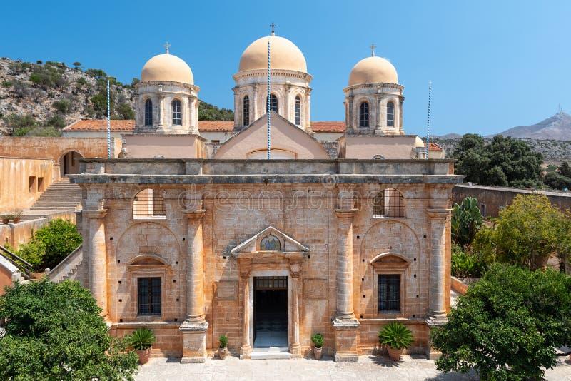 Budynek Aghia Triada monaster, lokalizować blisko Chania miasteczka, Crete wyspa, Grecja zdjęcie stock