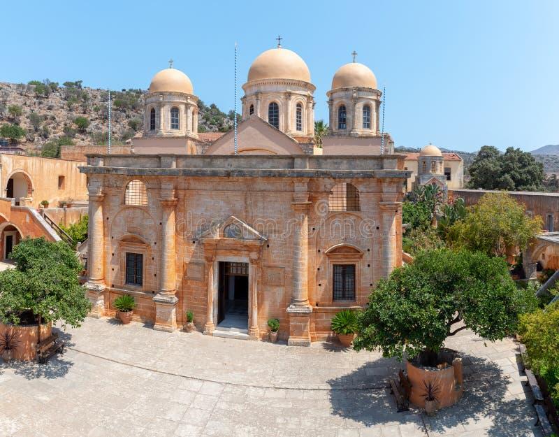 Budynek Aghia Triada monaster, lokalizować blisko Chania miasteczka, Crete wyspa, Grecja obraz stock