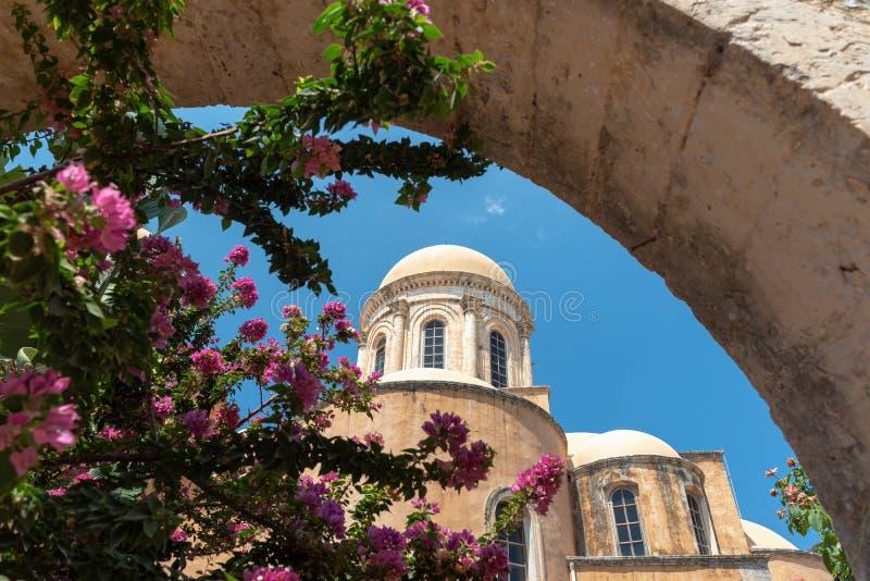 Budynek Aghia Triada monaster, lokalizować blisko Chania miasteczka, Crete wyspa, Grecja fotografia stock