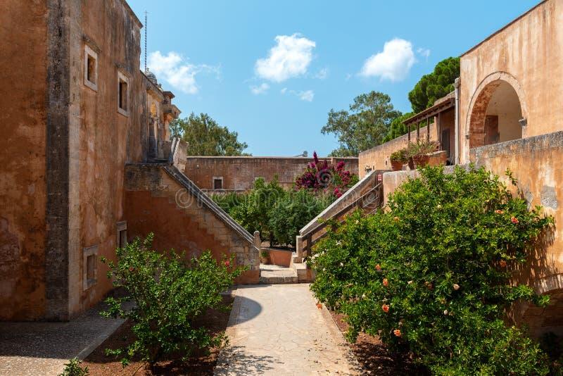 Budynek Aghia Triada monaster, lokalizować blisko Chania miasteczka, Crete wyspa, Grecja fotografia royalty free