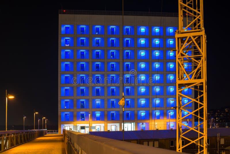 Budowa Stuttgart 21 przy nocą fotografia stock