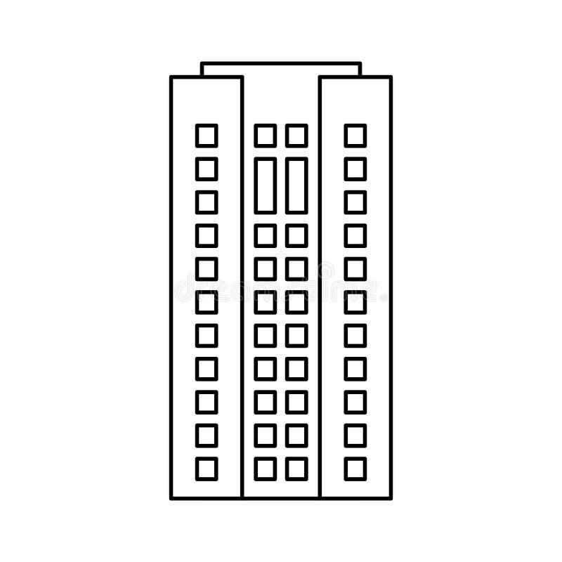 budynek architektury drapacza chmur mieszkaniowy kontur ilustracji