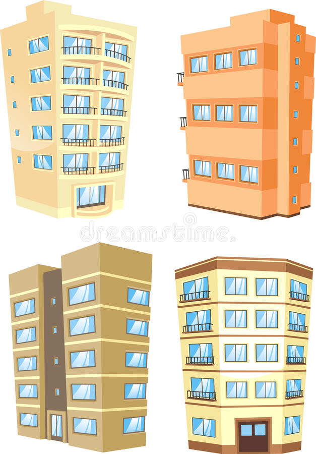 Budynek architektury mieszkań zewnętrzny budynek mieszkalny ustawia 1 royalty ilustracja