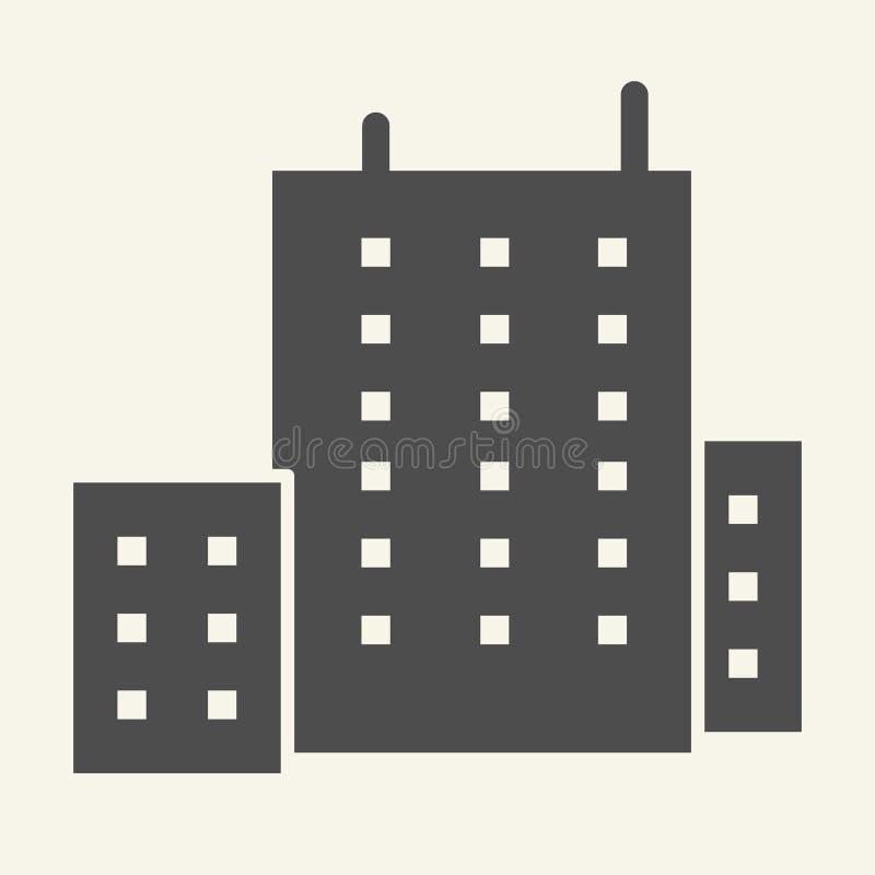 Budynek biurowy bryły ikona Architektury wektorowa ilustracja odizolowywająca na bielu Domowy glifu stylu projekt, projektujący d royalty ilustracja