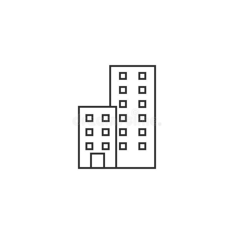 Budynek biurowy budowy wektorowa ikona odizolowywał 10 ilustracji