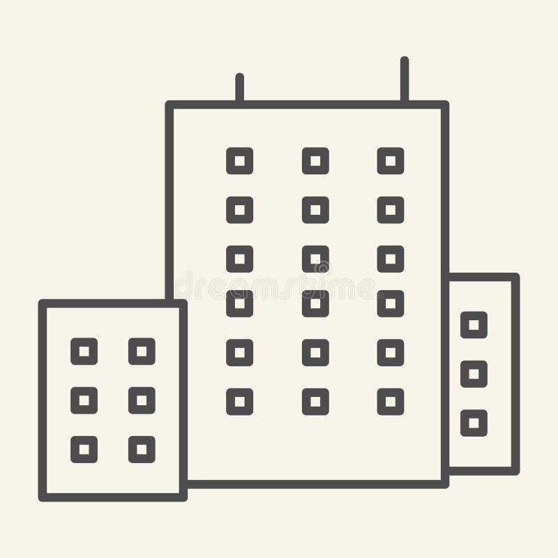 Budynek biurowy cienka kreskowa ikona Architektury wektorowa ilustracja odizolowywająca na bielu Domowy konturu stylu projekt, pr ilustracji