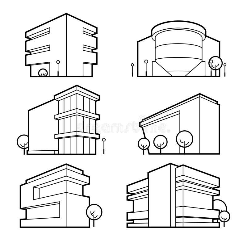 Budynek biurowy ikony royalty ilustracja