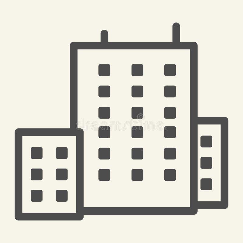 Budynek biurowy kreskowa ikona Architektury wektorowa ilustracja odizolowywająca na bielu Domowy konturu stylu projekt, projektuj ilustracja wektor