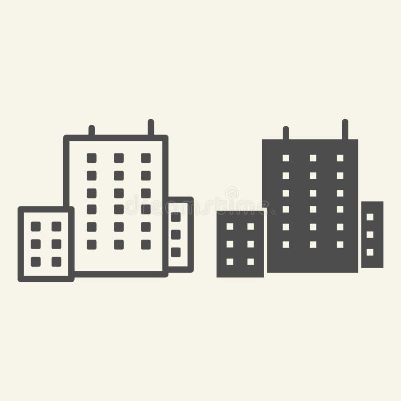 Budynek biurowy linia i glif ikona Architektury wektorowa ilustracja odizolowywająca na bielu Domowy konturu stylu projekt ilustracji