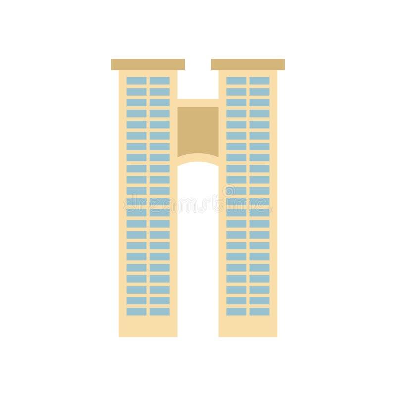 Budynek biurowy odizolowywający miasto architektury znak Biznesowy struc ilustracja wektor