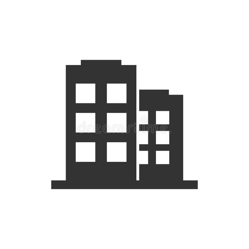 Budynek biurowy szyldowa ikona w mieszkanie stylu Mieszkanie wektorowa ilustracja na bia?ym odosobnionym tle Architektura biznesu royalty ilustracja