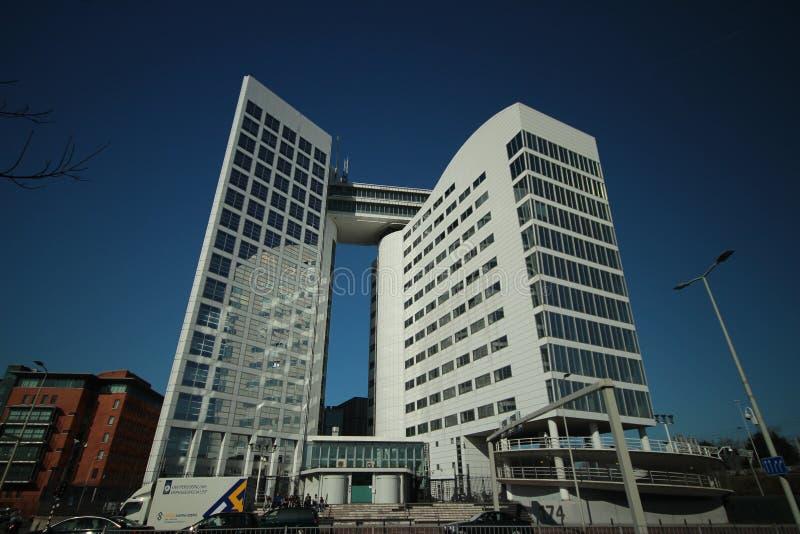 Budynek biurowy z przezwiskiem kawowa maszyna która był poprzednim zawody międzynarodowi sądu budynkiem w Haga dla SDU wydawców zdjęcie royalty free