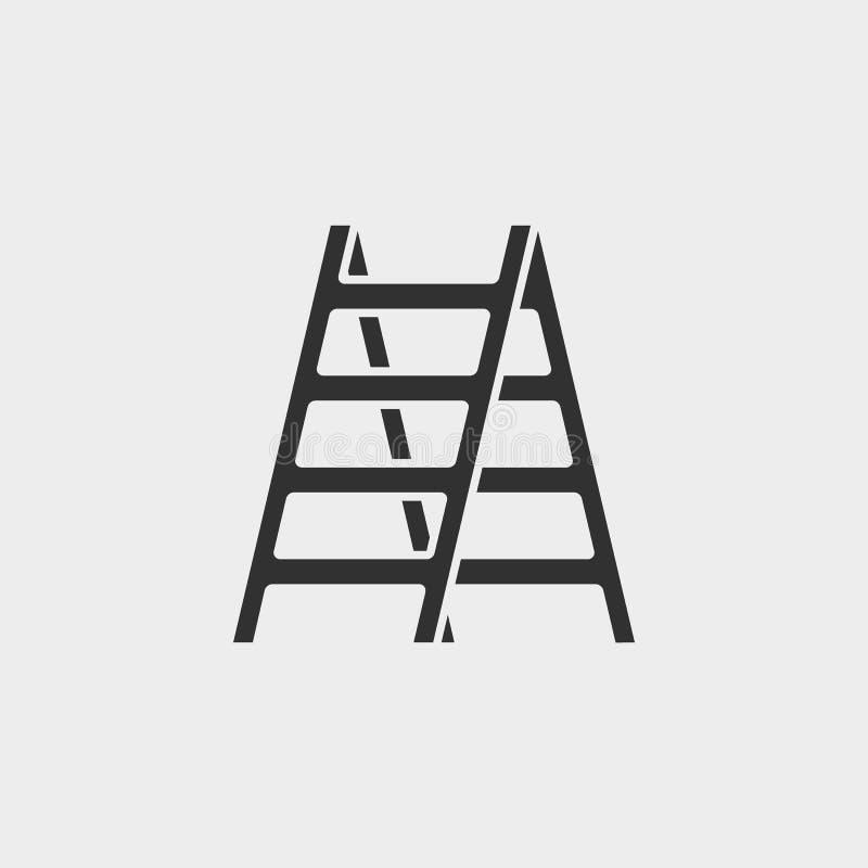 Budynek, budowa, przemysł, drabina, ikona, płaska ilustracja odizolowywający wektoru znaka symbol - budowa wytłacza wzory ikona w ilustracja wektor
