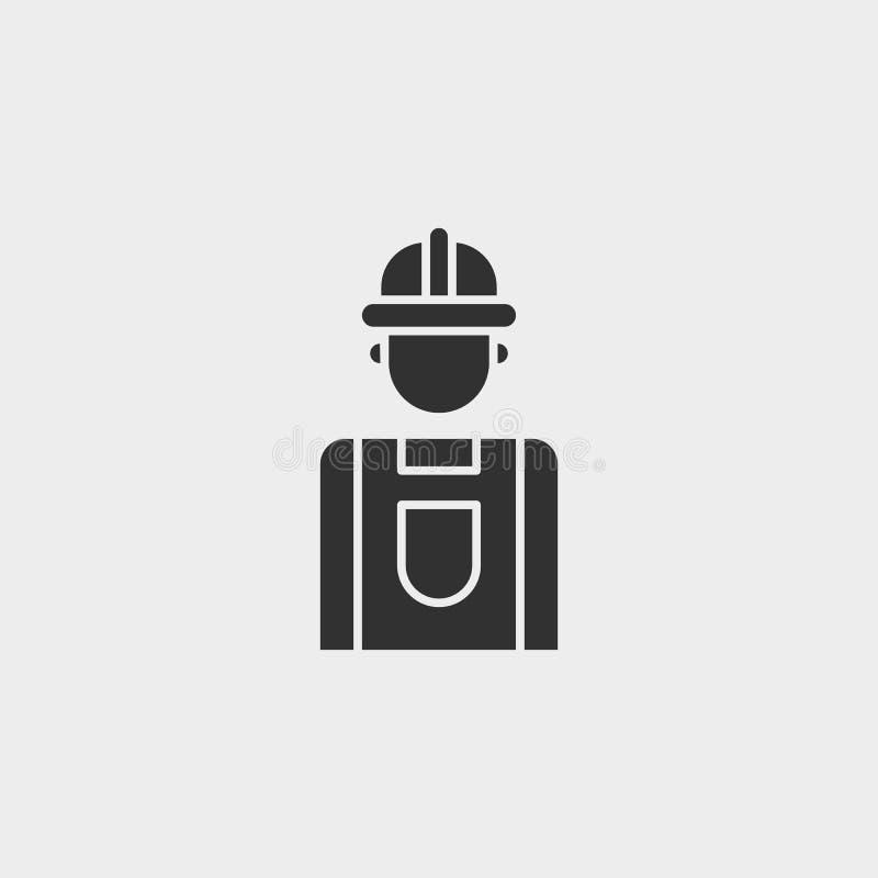 Budynek, budowa, przemysł, pracownik, ikona, płaska ilustracja odizolowywający wektoru znaka symbol - budowa wytłacza wzory ikona ilustracji