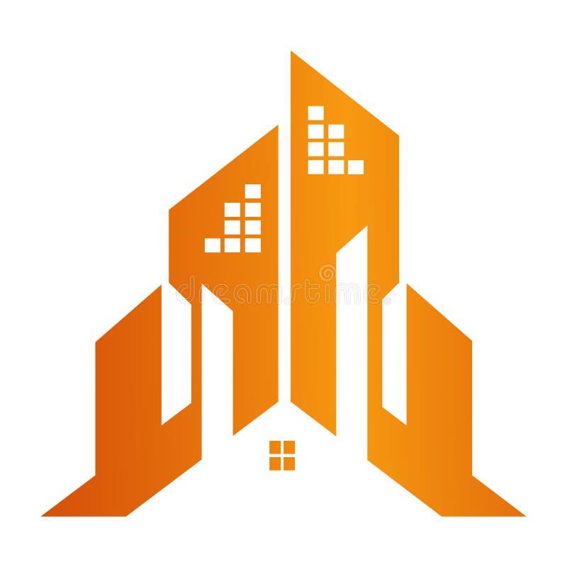 Budynek budowy poj?cia grodzki projekt Symbolu szablonu elementu graficzny wektor royalty ilustracja