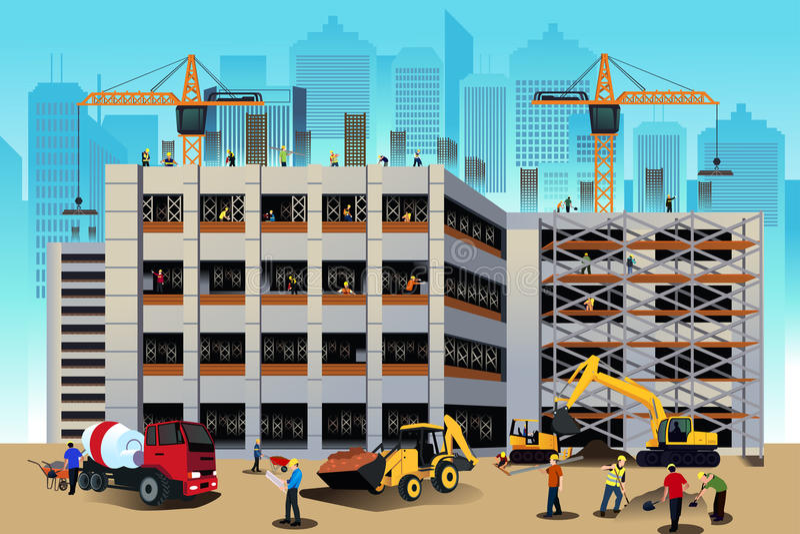 Budynek budowy scena ilustracji