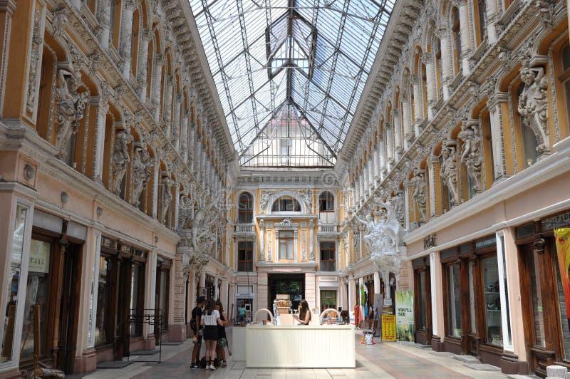 Budynek centrum handlowego ` przejścia ` Ja lokalizuje na kącie ulicy Preobrazhenskaya i Deribasovskaya zdjęcia royalty free