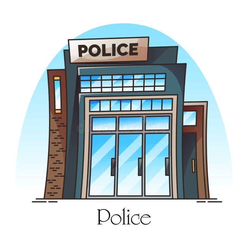 Budynek fasada komenda policji lub dział royalty ilustracja