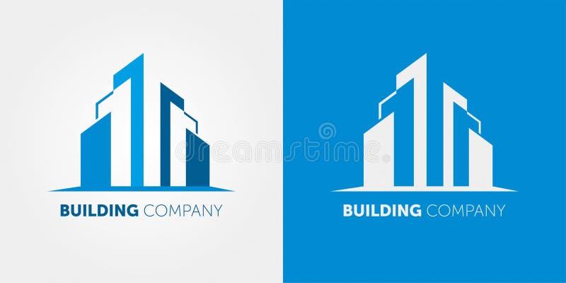 Budynek firmy logo Nowożytny logo dla nieruchomości firm i dom usług ilustracja wektor
