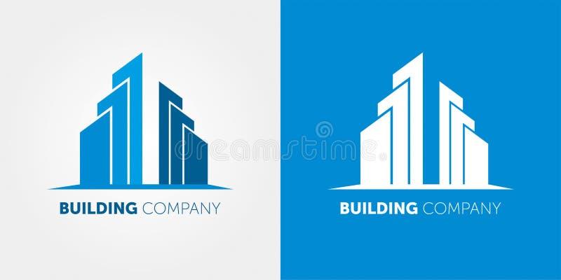 Budynek firmy logo Nowożytny logo dla nieruchomości firm i dom usług ilustracji