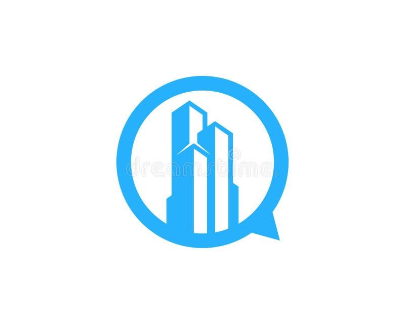 Budynek gadki ikony loga projekta Biurowy element ilustracji