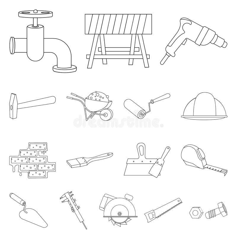 Budynek i architektura zarysowywamy ikony w ustalonej kolekci dla projekta Budowy i instytuci symbolu wektorowy zapas ilustracji