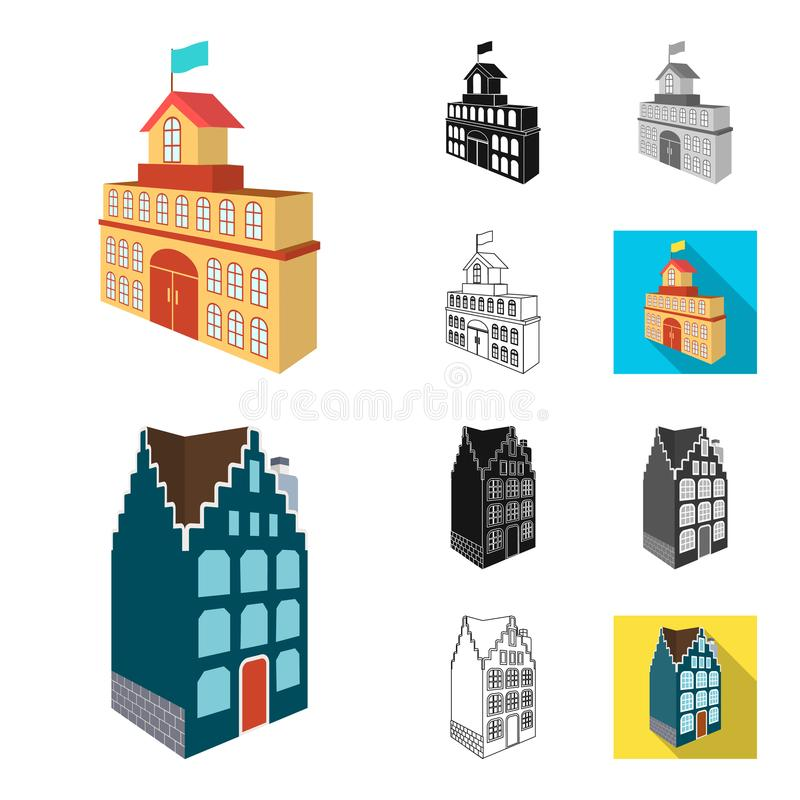 Budynek i architektury kreskówka, czerń, mieszkanie, monochrom, kontur ikony w ustalonej kolekci dla projekta Budynek i royalty ilustracja