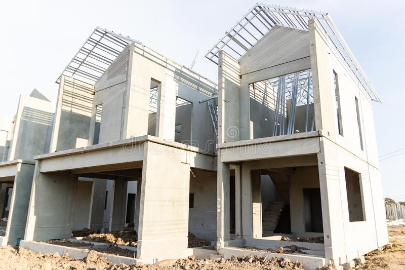 Budynek i budowa nowy dom zdjęcie stock