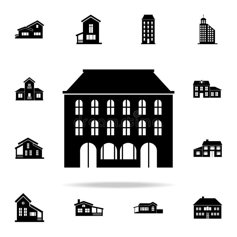 budynek ikona domowy ikony ogólnoludzki ustawiający dla sieci i wiszącej ozdoby ilustracja wektor