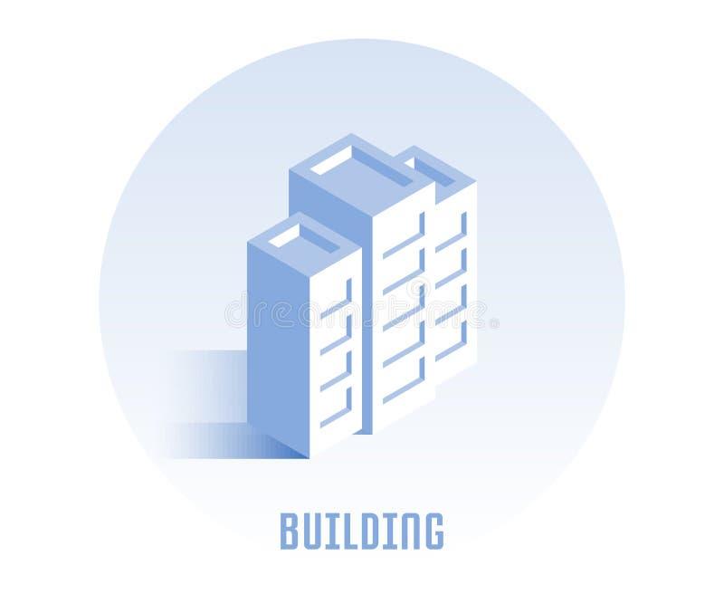 budynek ikona Wektorowa ilustracja w płaskim isometric 3D stylu royalty ilustracja
