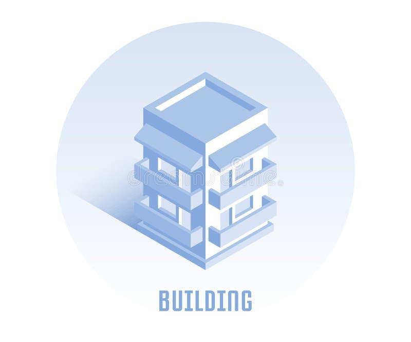 budynek ikona Wektorowa ilustracja w płaskim isometric 3D stylu ilustracja wektor