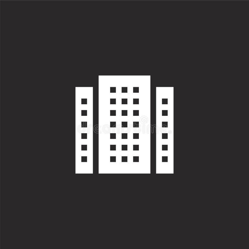 budynek ikona Wypełniający budujący ikonę dla strona internetowa projekta i wiszącej ozdoby, app rozwój budynek ikona od wypełnia ilustracja wektor