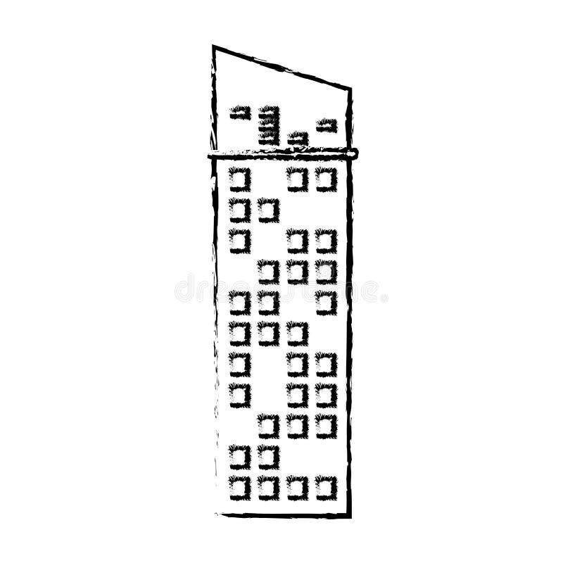 budynek ikony fasadowy nakreślenie ilustracja wektor