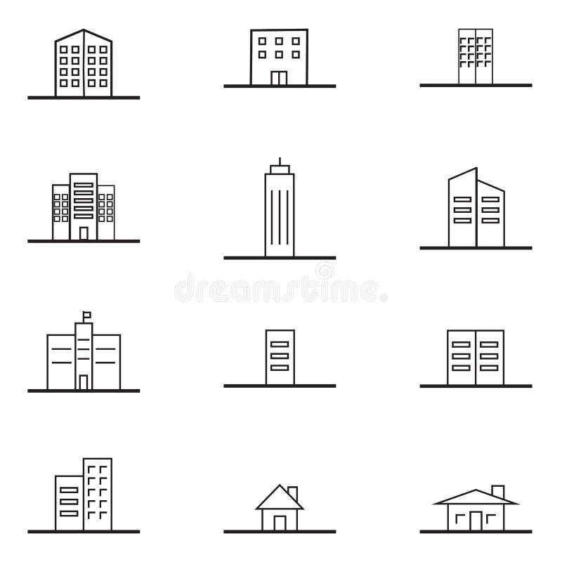 Budynek ikony ikony wektoru Eps10 minimalny stylowy set ilustracji