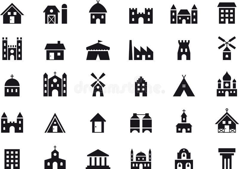 Budynek ikony set ilustracji