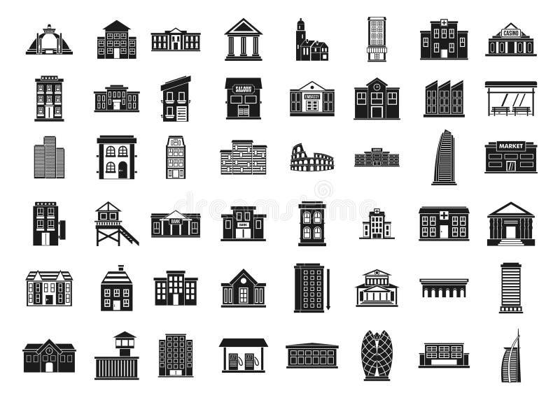 Budynek ikony set, prosty styl royalty ilustracja