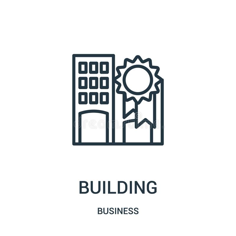 budynek ikony wektor od biznesowej kolekcji Cienka kreskowa budynku konturu ikony wektoru ilustracja Liniowy symbol dla używa na  ilustracja wektor