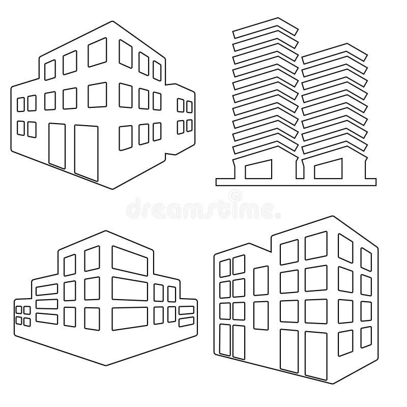 Budynek ikony wektoru set kolekcja budynku i nieruchomości miasta logo ilustracja royalty ilustracja