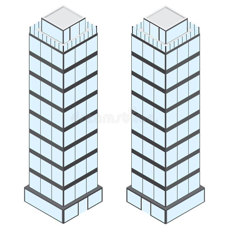 Budynek ilustracja Szarość ściany i wiele okno zdjęcie stock