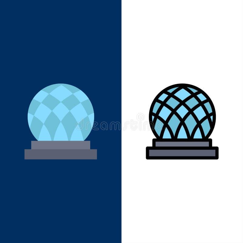 Budynek, Kanada, miasto, kopuł ikony Mieszkanie i linia Wypełniający ikony Ustalony Wektorowy Błękitny tło ilustracja wektor