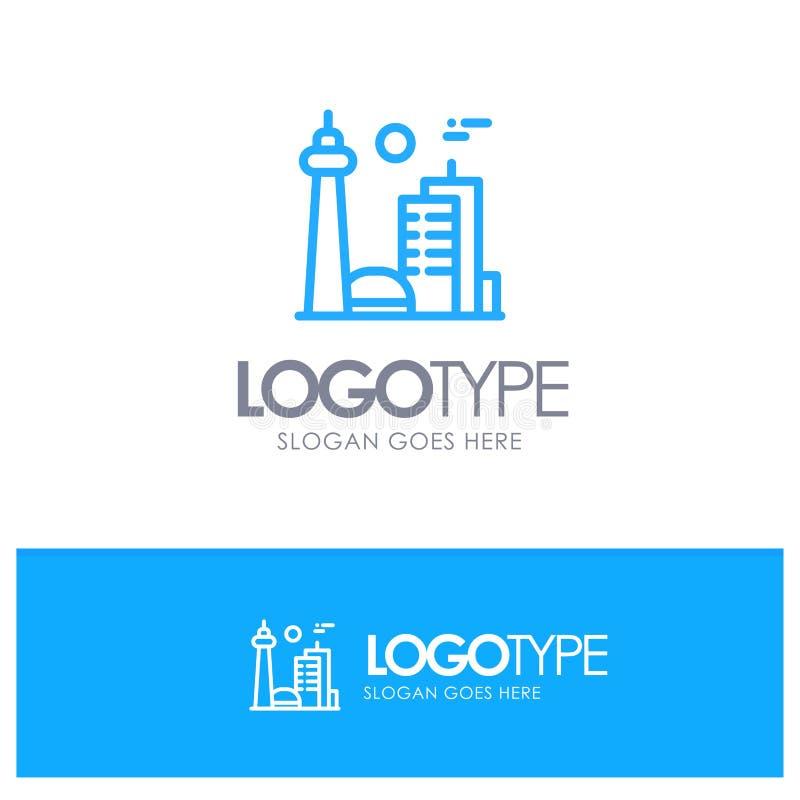 Budynek, Kanada, miasto, Sławny miasto, Toronto Błękitny konturu logo z miejscem dla tagline ilustracja wektor