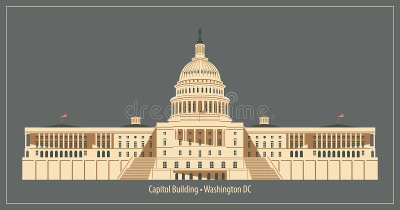 budynek kapitolu stanów zjednoczonej Washington dc ilustracji