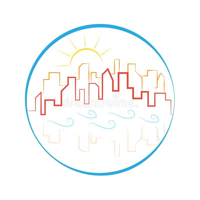 Budynek linii horyzontu logo macha słońce emblemat ilustracji
