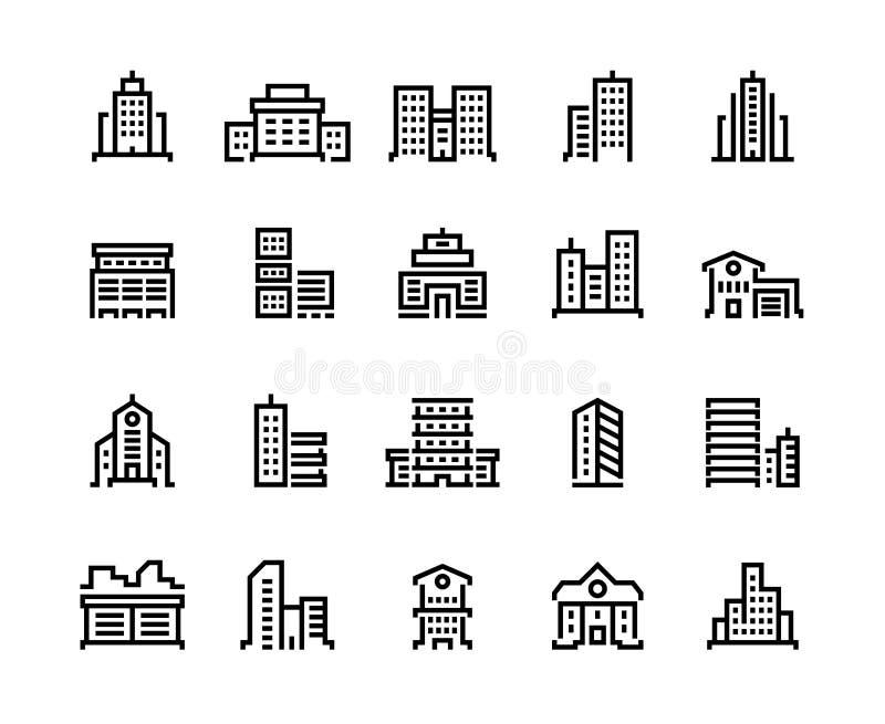 Budynek linii ikony Centrum biznesu z biurami, miejskimi budynkami, szkołą i szpitalem, Miasto budów symbole ilustracji