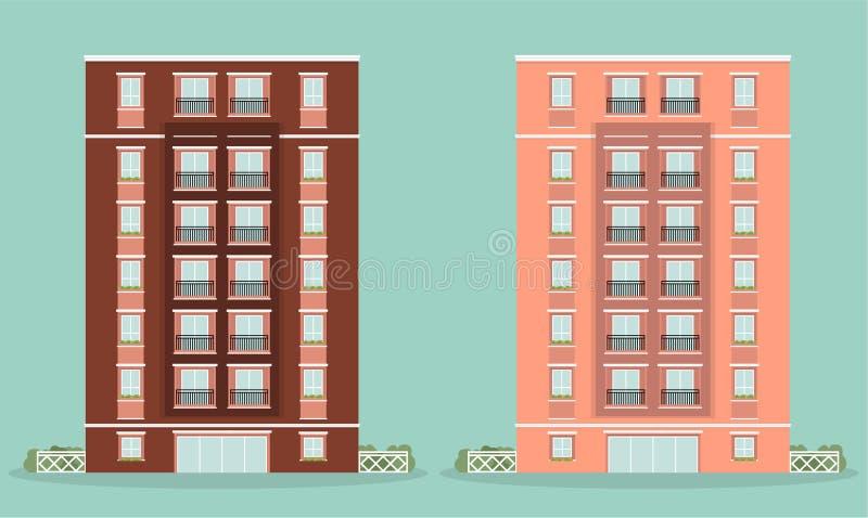 Budynek Mieszkaniowy ilustraci dom royalty ilustracja