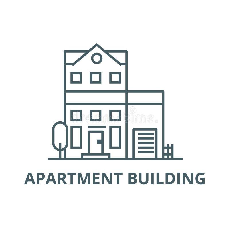 Budynek mieszkaniowy linii ikona, wektor Budynku mieszkaniowego konturu znak, pojęcie symbol, płaska ilustracja royalty ilustracja
